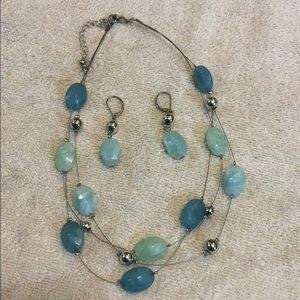 Three strand jewel necklace with matching earrings